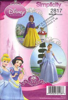 Simplicity Disney Princess Pattern Cinderella Snow White size 3,4,5,6