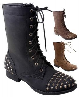 NEW Womens Punk Metal Studded Lace Up Military Combat Low Heel Boot Sz