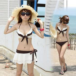 Sexy Bobby bowknot triangle bikini Swimdress Swimwear 3set SizeM L XL