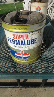 STANDARD OIL SUPER PERMALUBE MOTOR OIL 5 GALLON OIL CAN GAS