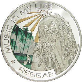 MUSIC IS MY LIFE REGGAE Bob Marley Coin 1$ Fiji 2012