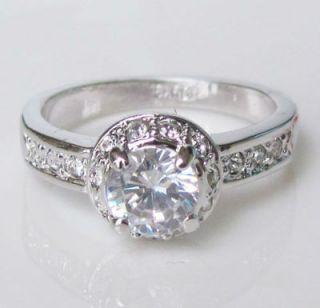 white gold GP Swarovski Promise engagement Ring Diana