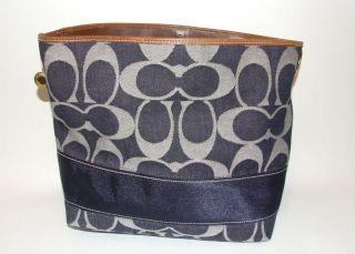 Signature Stripe Blue Denim Shoulder Tote Bag Purse Handbag 11182
