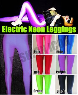 Rave Purplel Opaque Glossy Shiny Lycra Spandex Leggings Pants Tights