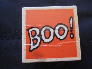 Rubber Stamp Saying Quote Phrase Boo Halloween Scary Outline Words