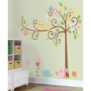 New Giant SCROLL TREE WALL DECALS Baby Nursery Stickers Kids Bedroom