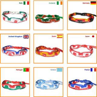 COUNTRY FLAG COLORS FRIENDSHIP BRACELET WRISTBAND ♥ SUPPORT YOUR