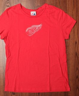 Red WIngs NHL Hockey Sportswear Athletics Womens T Shirt Red Large