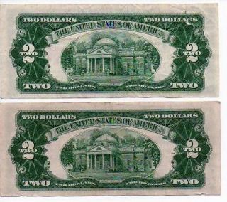 1953 B & 1953 C $2 Dollar Bills Red Seal Star Notes