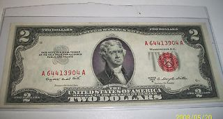 1953 2 dollar bill red seal in United States Notes