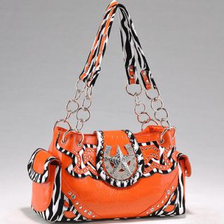 STAR ZEBRA RHINESTONE WESTERN PURSE HANDBAG ORANGE