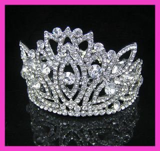 Wedding/Bridal party crystal veil tiara crown CR217