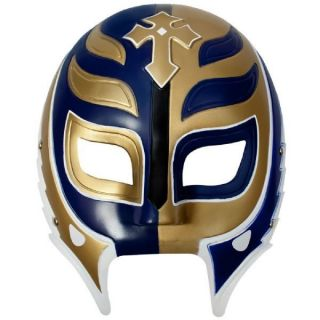 WWE REY MYSTERIO WHITE/GOLD/BLUE PLASTIC MASK OFFICIAL NEW