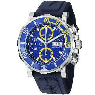 Paul Picot Mens Yachtman Blue Dial Blue Rubber Strap Watch P1127BJS.SG