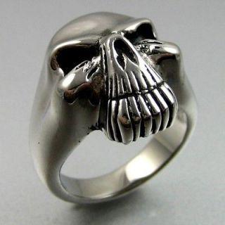 Biker Heavy Black Silver Stainless Steel Skull Mens Ring Size 13