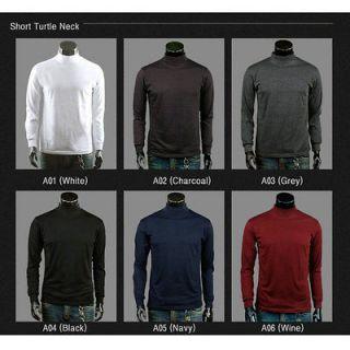 Premium Mens Casual Slim Fit Turtle Neck T shirts Tee shirts 6 colors