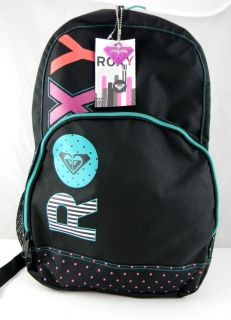 NWT ROXY GIRL School Backpack Book Bag Black/Teal