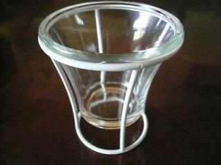 WHITE ROD IRON STYLE GLASS SHADE VOTIVE CANDLE HOLDER LANTERN LAMP