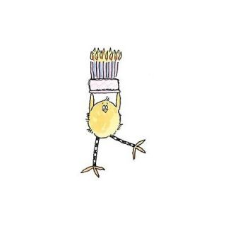 PENNY BLACK RUBBER STAMPS CAKE WALK CHICKEN WITH CAKE STAMP