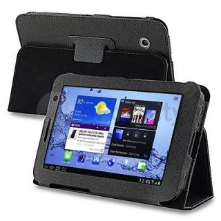 Black Folio Leather Case Cover Stand For Samsung Galaxy Tab 2 7