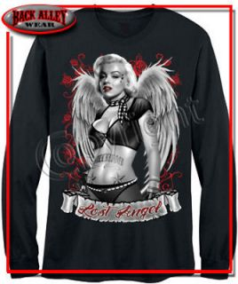 MARILYN MONROE Lost Angel LONG SLEEVE T SHIRT WINGS ROSES TATTOO M 3XL