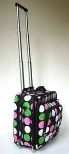 16 Computer/Laptop Briefcase Rolling Padded Bag/Wheel Pink Polka Dots
