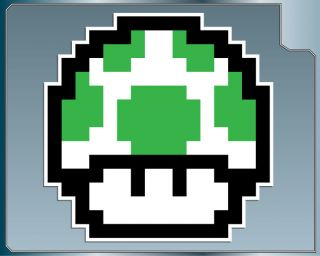 UP MUSHROOM #1 8Bit Vinyl Decal Sticker Super Mario Bros. Luigi