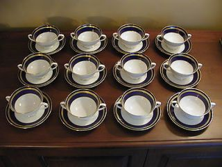 Coalport Cobalt Blue/Gold (12) Cream Soup Cups & Saucers Matches Elite