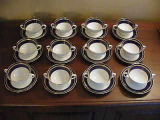 Coalport Cobalt Blue/Gold (12) Cream Soup Cups & Saucers Matches Elite