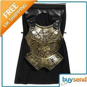 Adults Roman Gladiator Soldier Spartan Chest Plate & Cape Fancy Dress
