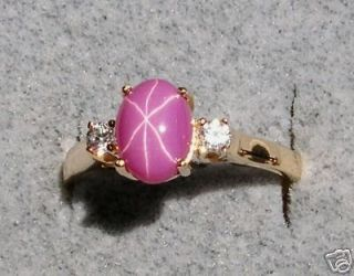 LINDE LINDY STAR RUBY CREATED SAPPHIRE PINK SS RING