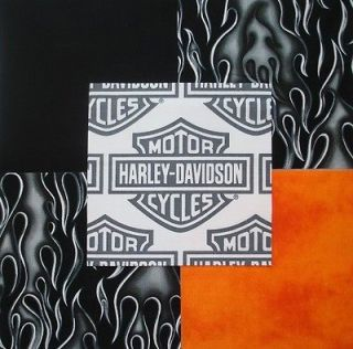 HARLEY DAVIDSON Logo Shield Black flames Orange Quilt Fabric Squares