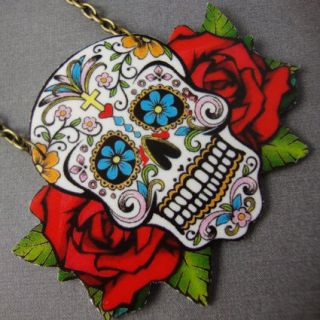 Sugar Skull Day of the Dead Tattoo Rose Necklace Kitsch Rockabilly