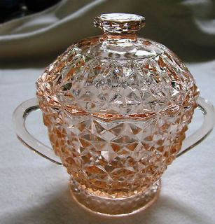 JEANETTE PINK HOLIDAY BUTTONS & BOWS SUGAR BOWL & LID