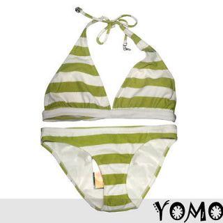 Sexy Girl Green Stripe Bikini Triangle Swimwear Bathing Suit Size L