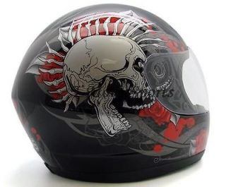 SKULL FULL FACE MOTORCYCLE STREET SPORT BIKE SCOOTER HELMET DOT~XL