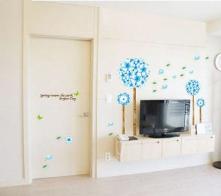 Beautiful Flower Tree Blue Wallpaper Removable Wall Sticker Mural