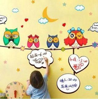 Owl Family Whiteboard Wall Decal Art Vinyl Nursery Sticker Kids