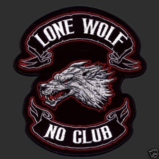 LONE WOLF NO CLUB BIKER PATCH (XXL) BIKER PATCH