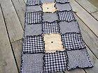 Primitive Black Table Rag Quilt Runner w/Buttons Handmade in NJ