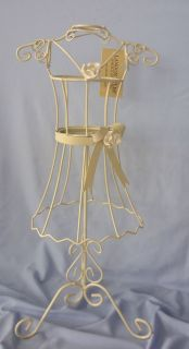 Vintage Chic Cream Rose Metal Wire Table Top Mannequin Jewellery Stand