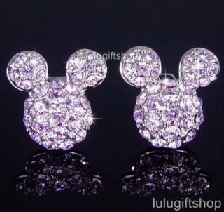 MOUSE PURPLE WHITE GOLD PLATED STUD EARRINGS USE SWAROVSKI CRYSTAL