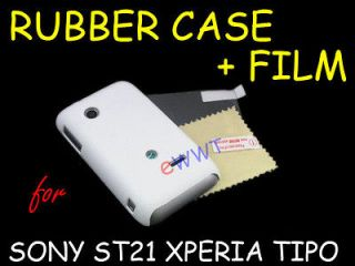 White Rubber Rubberized Cover Hard Case +Film for Sony Xperia Tipo