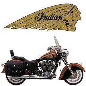 Newly listed 2 Gold Indian Motorcycle War Bonnet Gas Tank Decals 504R