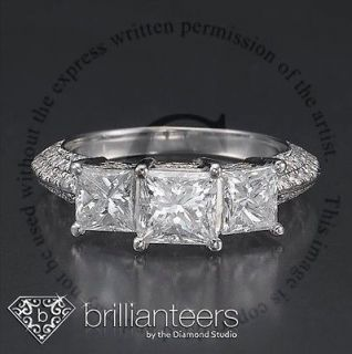 CT DIAMOND ENGAGEMENT 14KT WHITE GOLD 3 THREE STONE PRINCESS RING