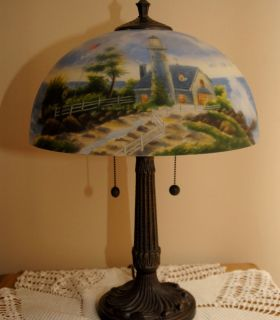 Thomas Kinkade Reverse Painted Table Lamp   A Light In The Storm (w