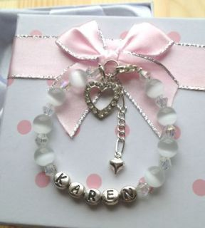 Personalised Girls crystal cats eye bracelet ANY size any colour in