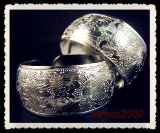 Phoenix Bat Exquisite Tibetan Tibet Silver Totem Bangle Cuff Bracelet