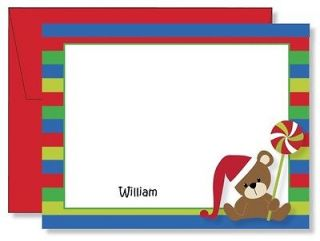 Personalized FLAT Teddy Bear Lollipop Christmas Thank You Note Cards