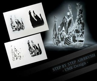 Airbrush Stencil Template 4 Steps AS 122 M Size 5,11 x 3,95